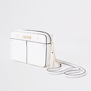 White tassel boxy cross body bag