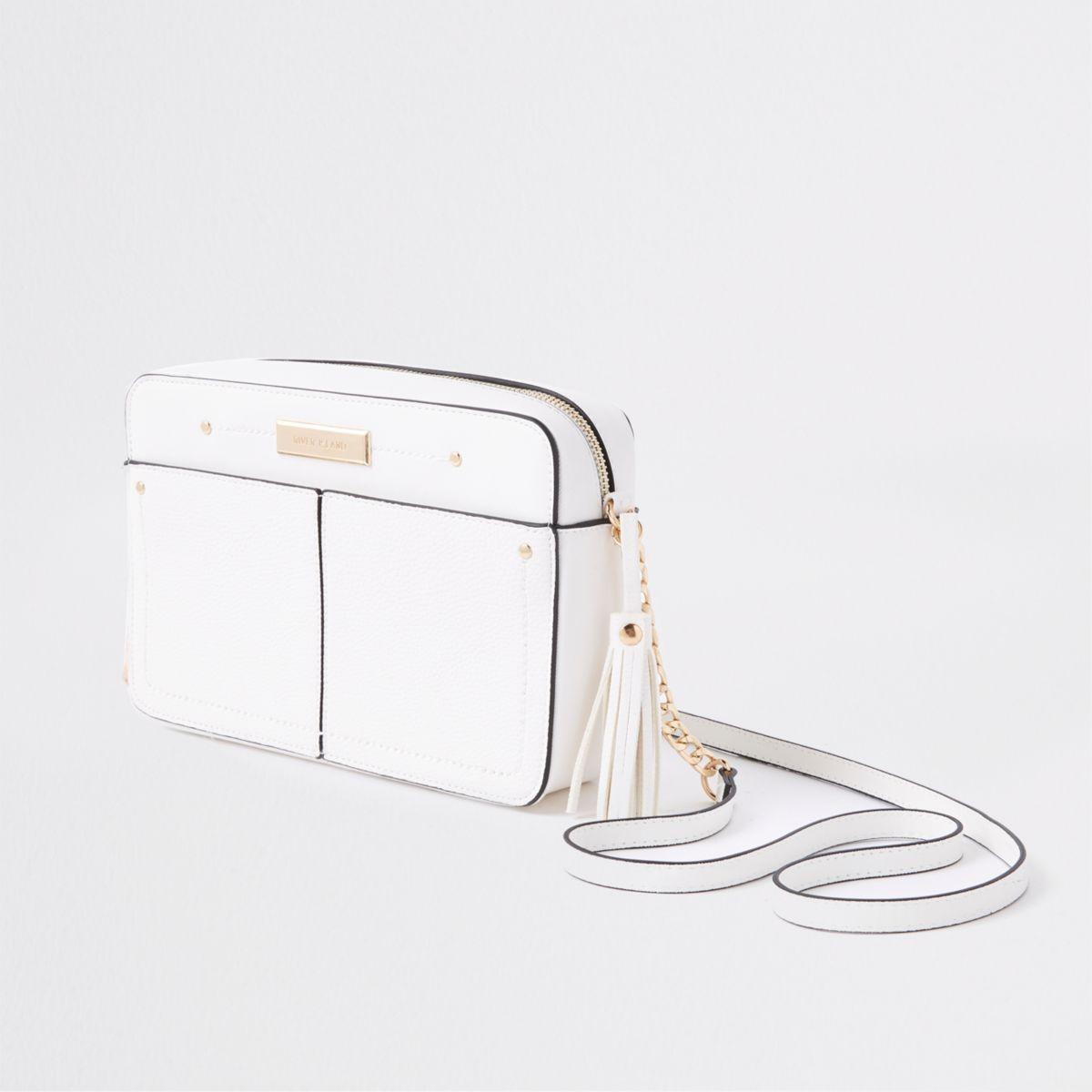 White tassel boxy cross body bag