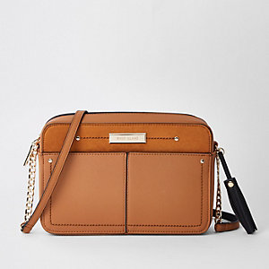 Beige tassel boxy cross body bag