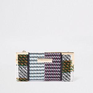Yellow check print foldout purse