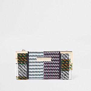 Yellow check print foldout purse