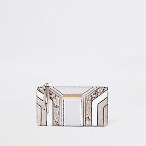 Metallic grijze smalle openklapportemonnee