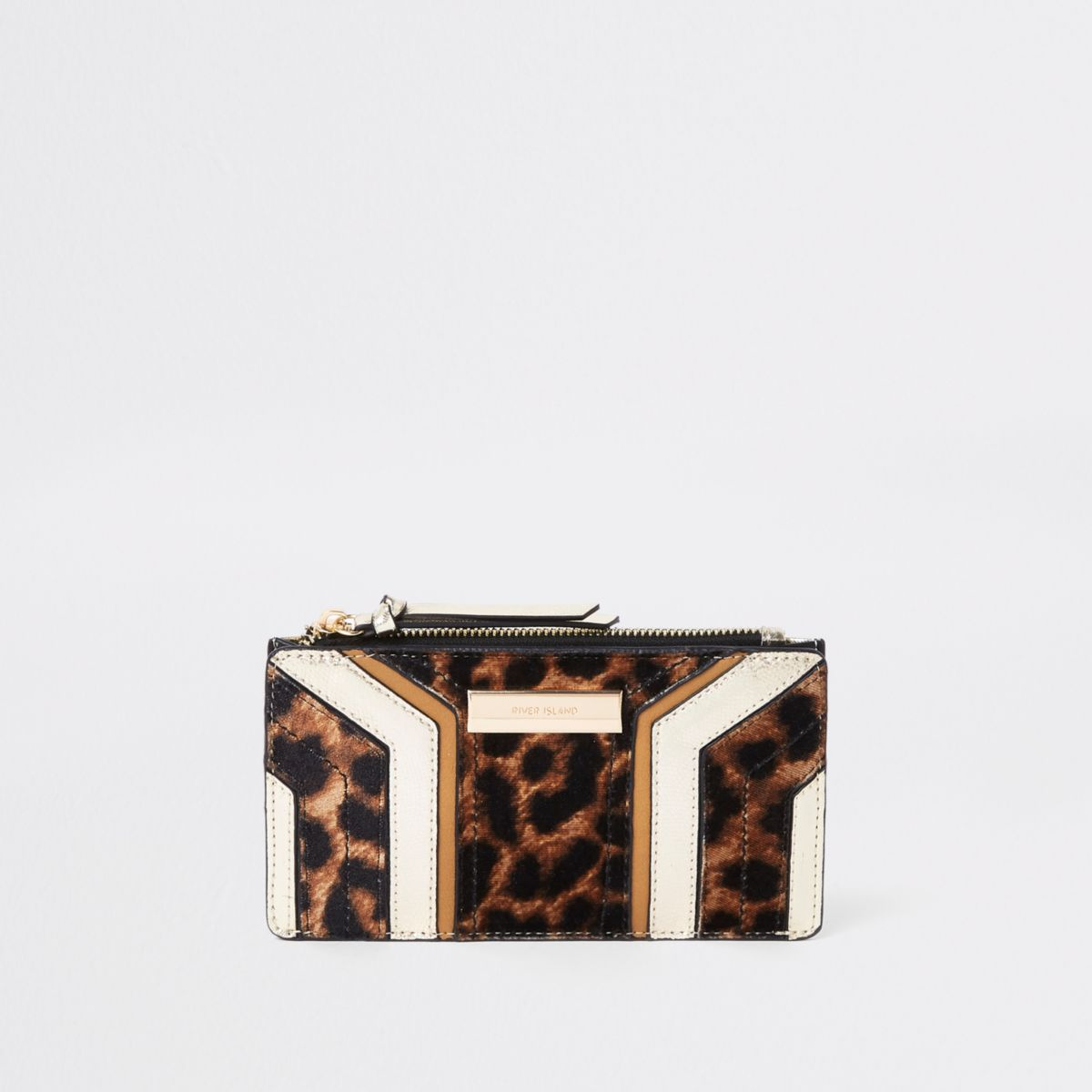 Beige cutabout leopard print fold out purse