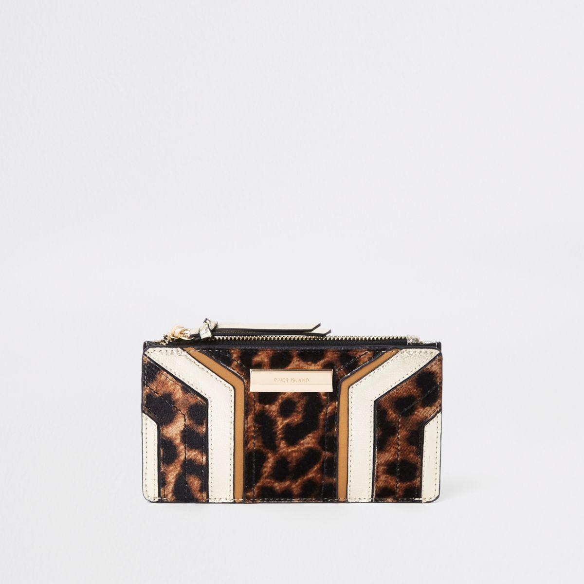 Beige uitvouwbare portemonnee met uitsneden en luipaardprint