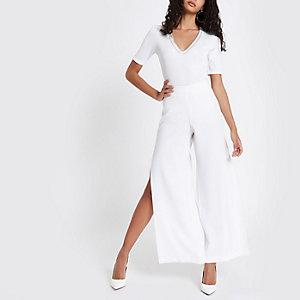 White rib diamante embellished bodysuit
