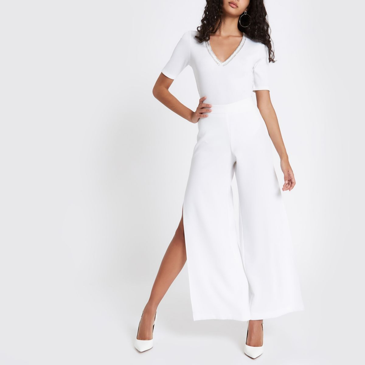 White rib rhinestone embellished bodysuit