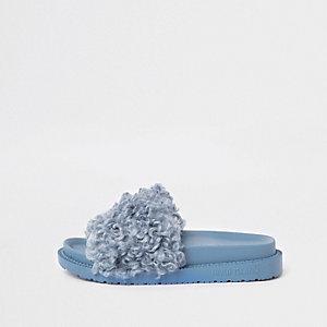Blue shearling fur sliders
