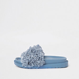 Blue shearling fur sliders