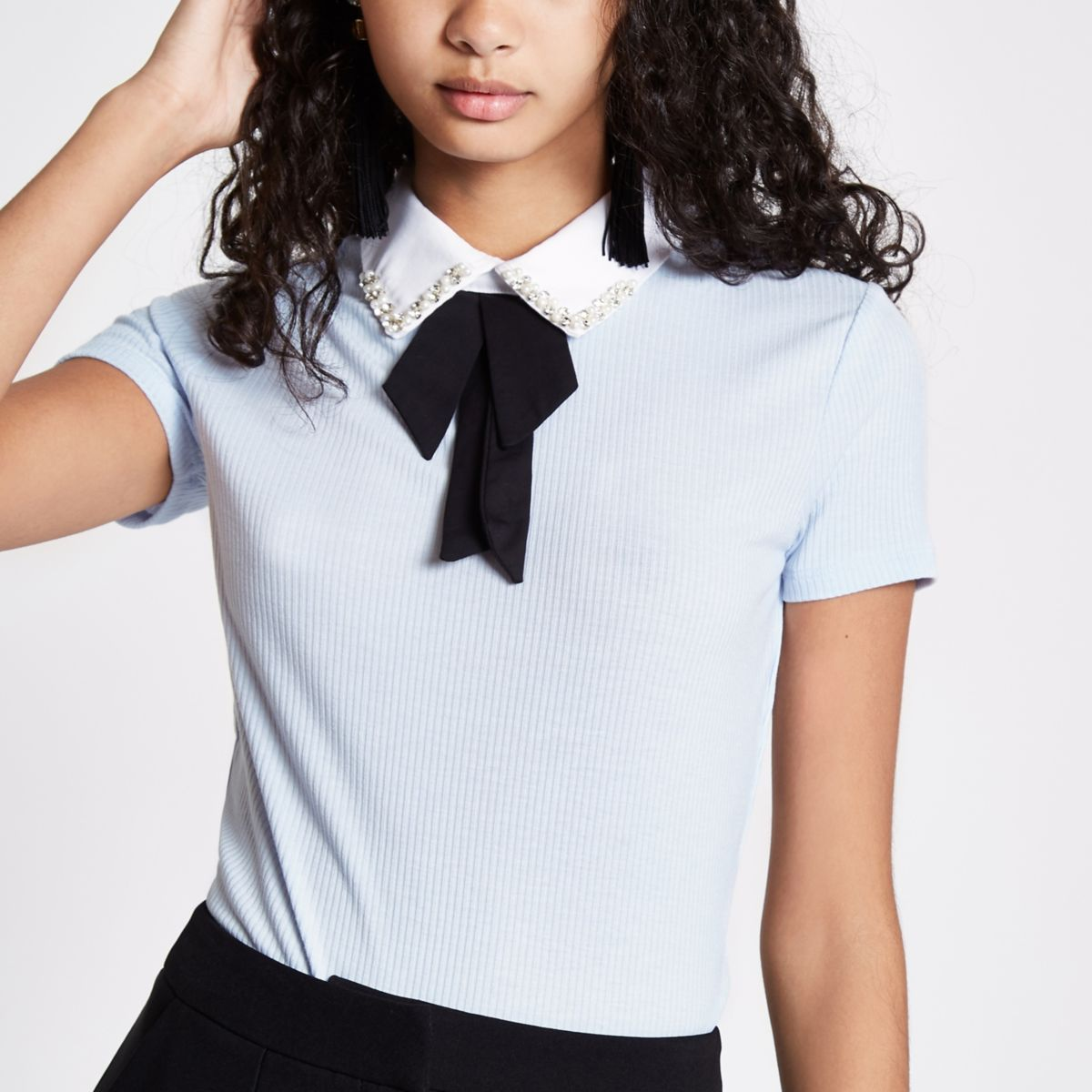 Blue rib bow embellished collar top