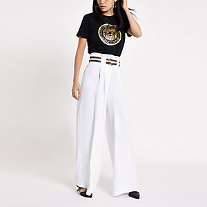 White stripe belt wide leg pants