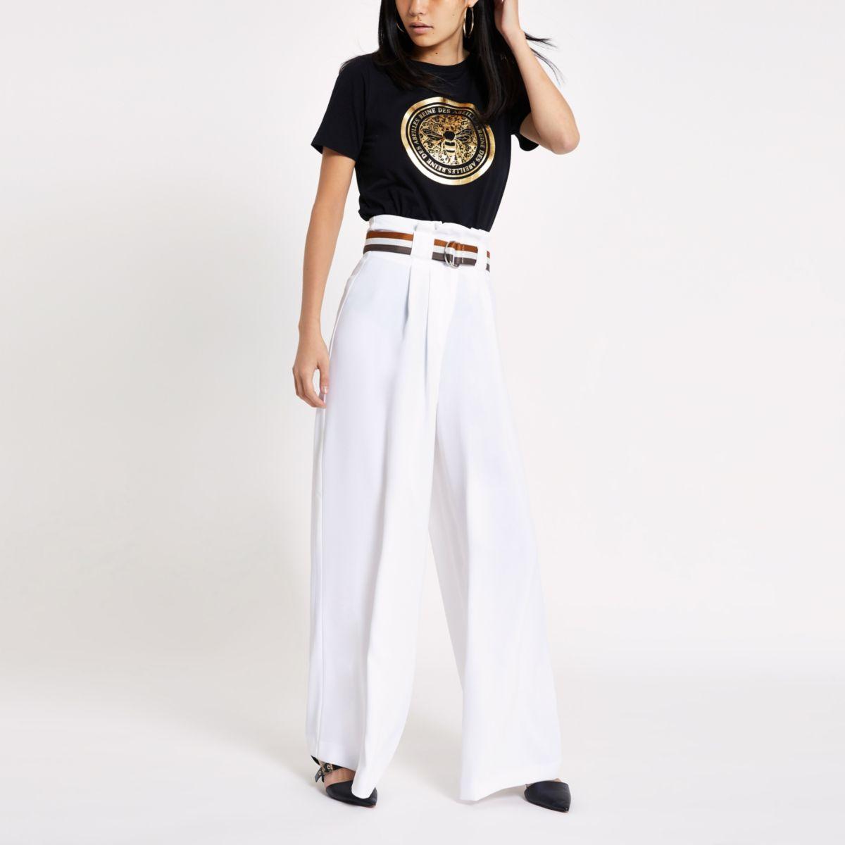 White stripe belt wide leg pants