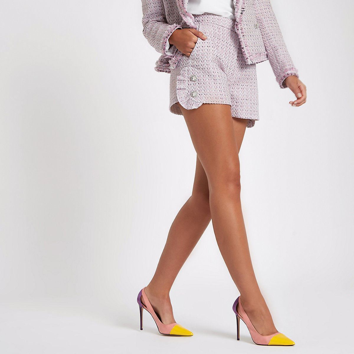 Pink tweed diamante pearl embellished shorts