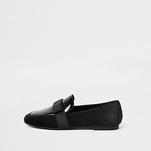 Black wide fit bow square toe loafers
