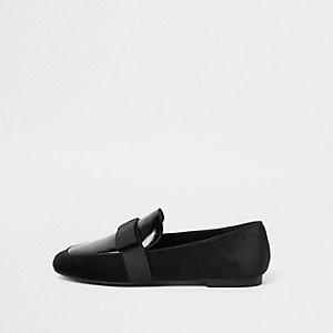 Zwarte loafers met vierkante neus en strik
