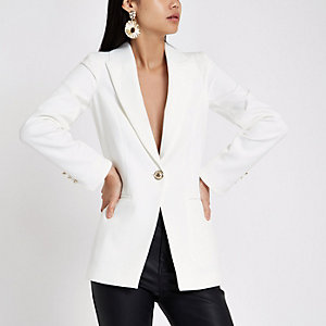 Witte single-breasted blazer