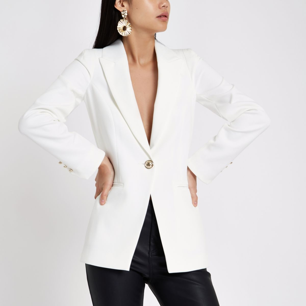 White single breasted blazer