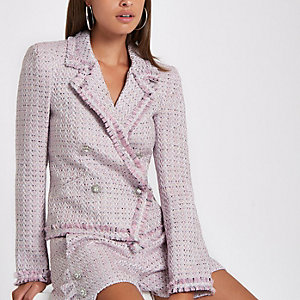 Pink double-breasted boucle jacket