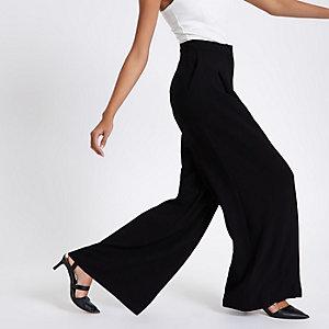 Pantalon large noir taille haute