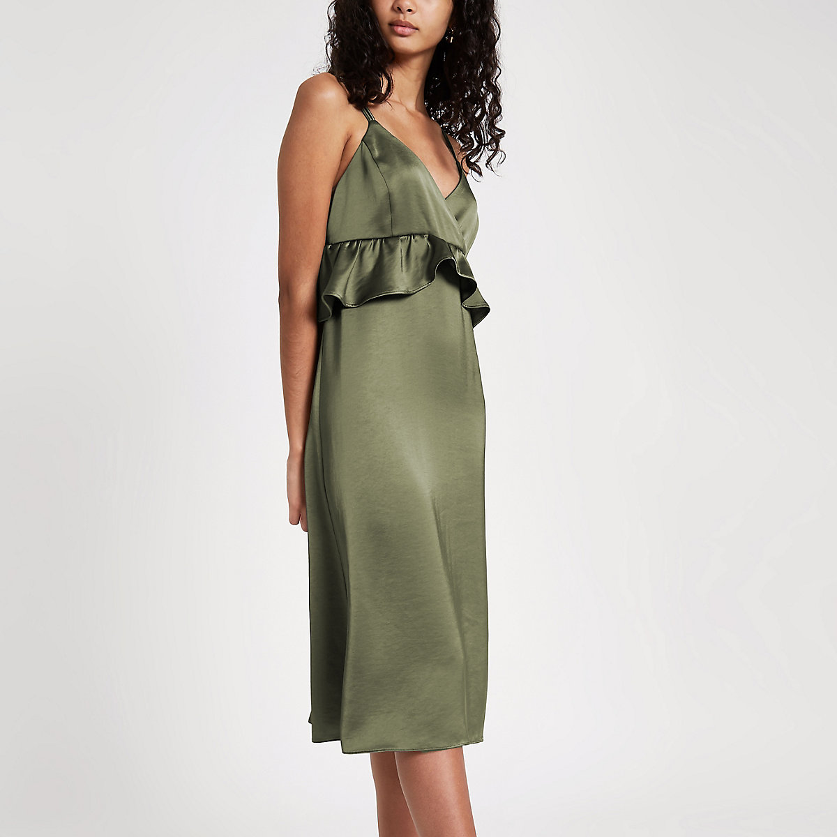 Khaki satin frill cami slip dress