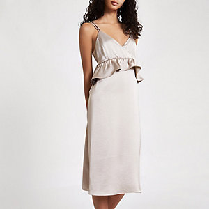 Silver satin frill strappy slip dress