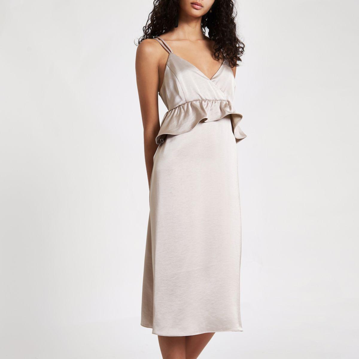 Silver satin frill strappy slip dress