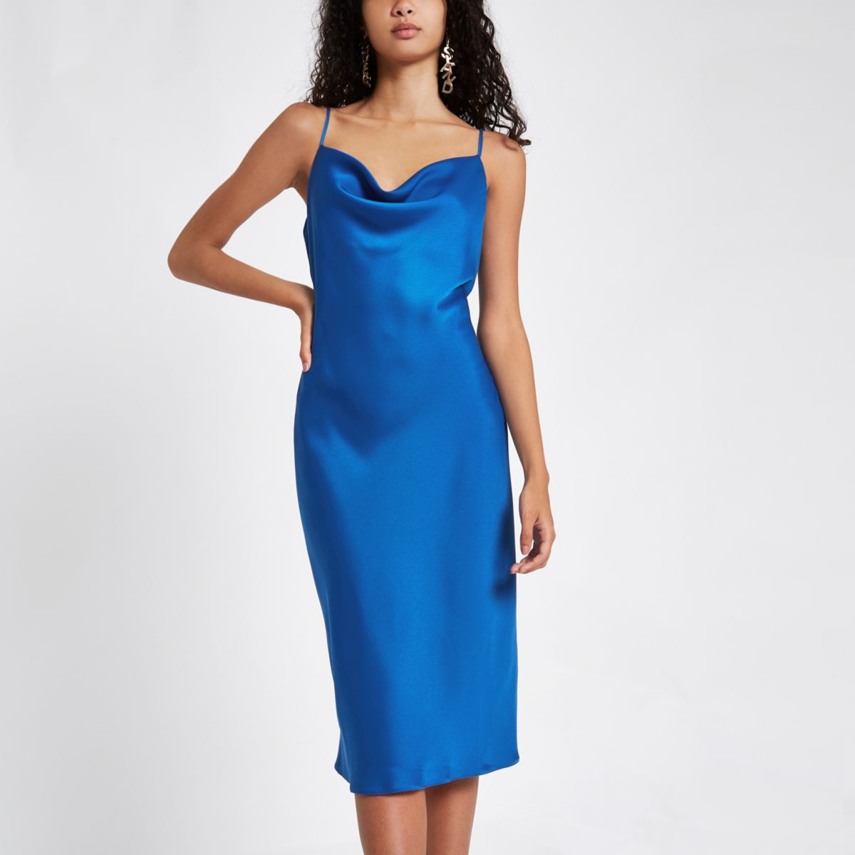 Blue satin cowl neck slip dress