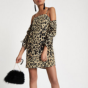 Brown leopard print bardot swing dress