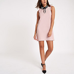 Pink embellished collar mini dress
