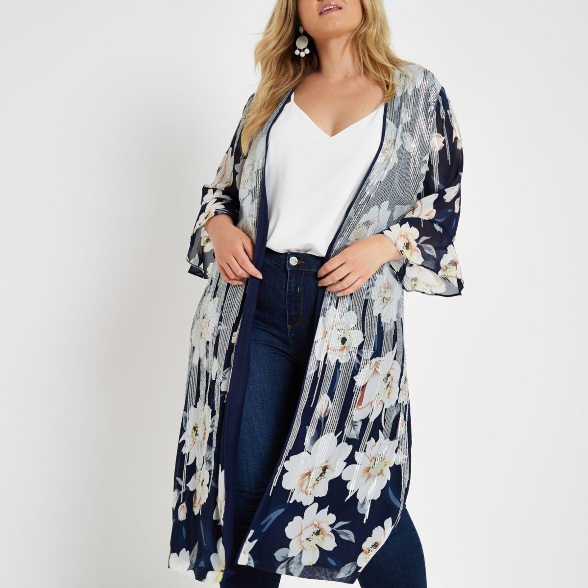 Plus navy floral print sequin duster jacket