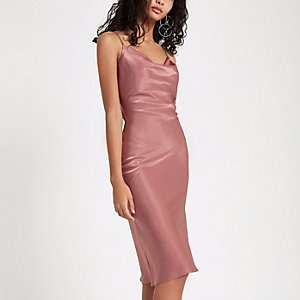 Pink cowl neck slip dress