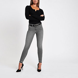 Molly - Grijze superskinny jeans met onafgewerkte zoom
