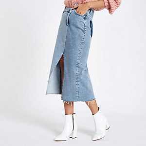 Denim asymmetric waistband longline skirt