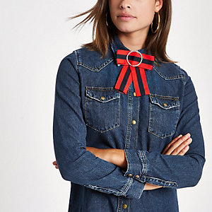 Dark blue denim fitted bow shirt