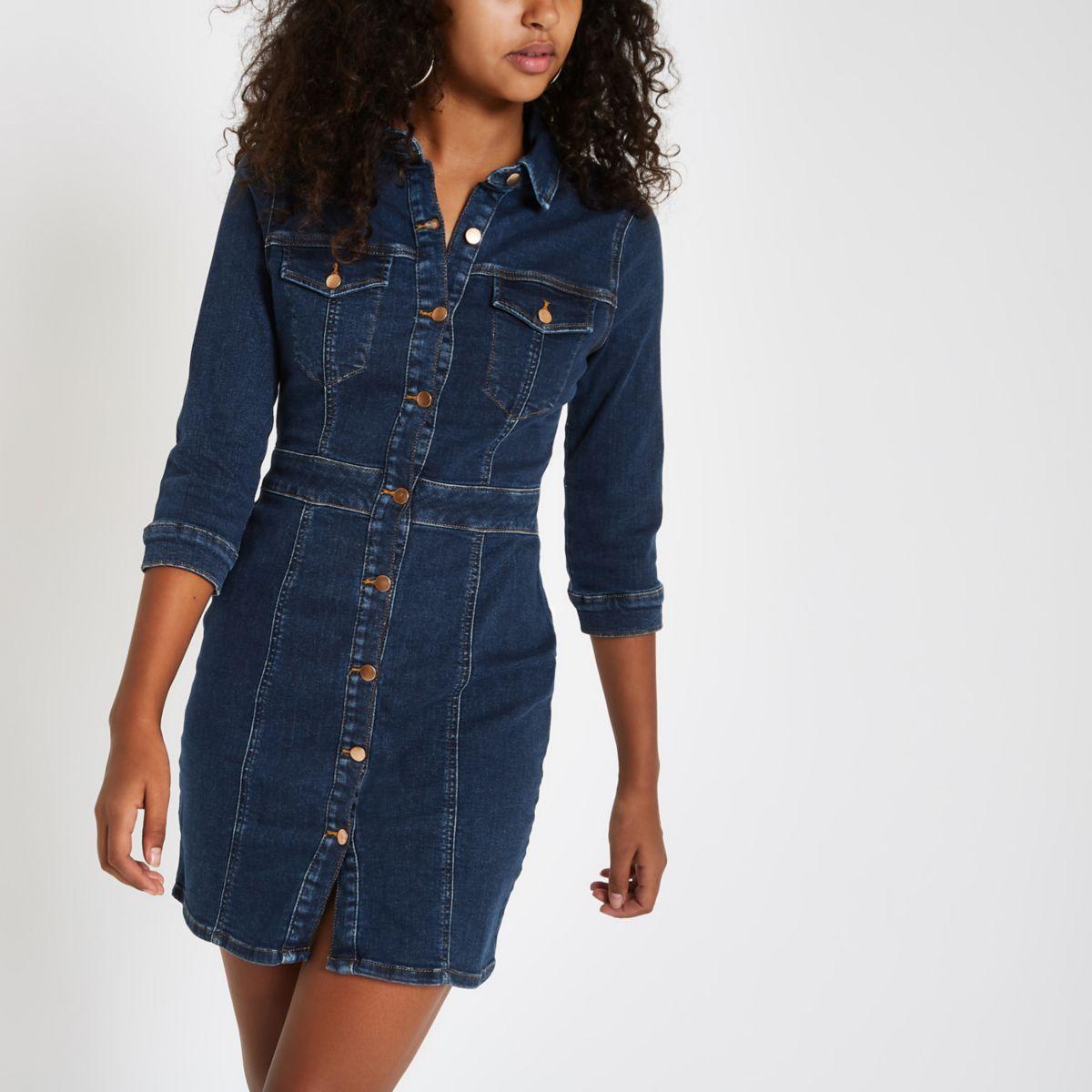 Dark blue denim fitted shirt dress