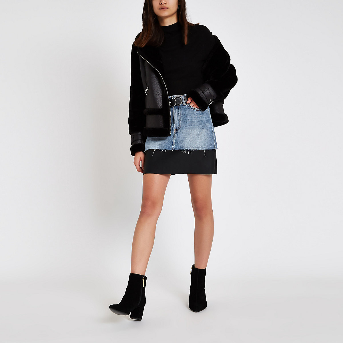Blue faux leather hem denim skirt