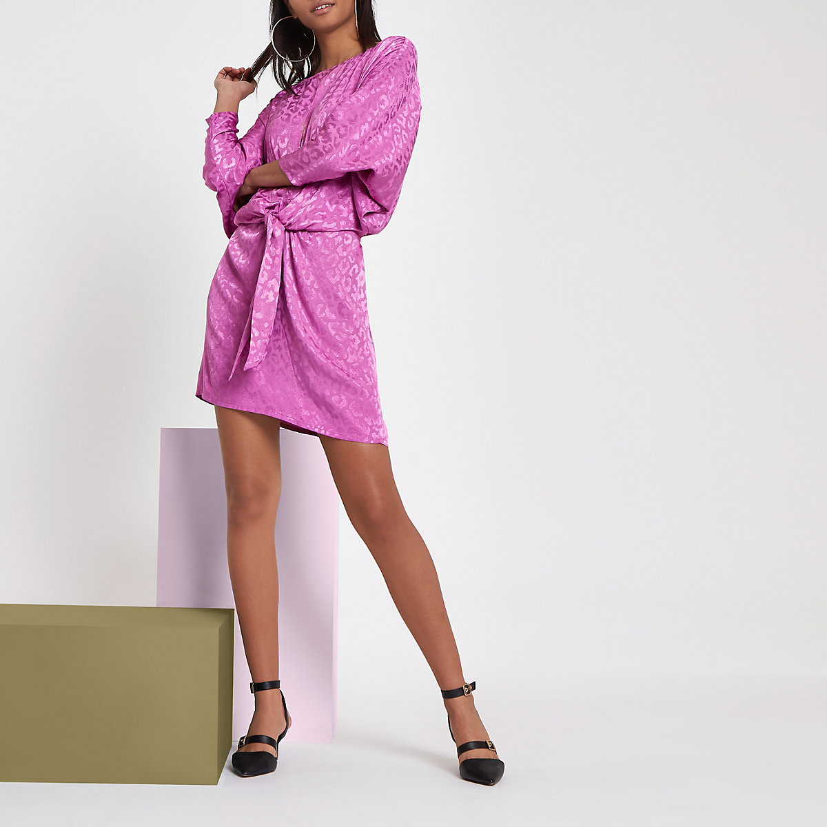 RI Studio pink jacquard knot front mini dress