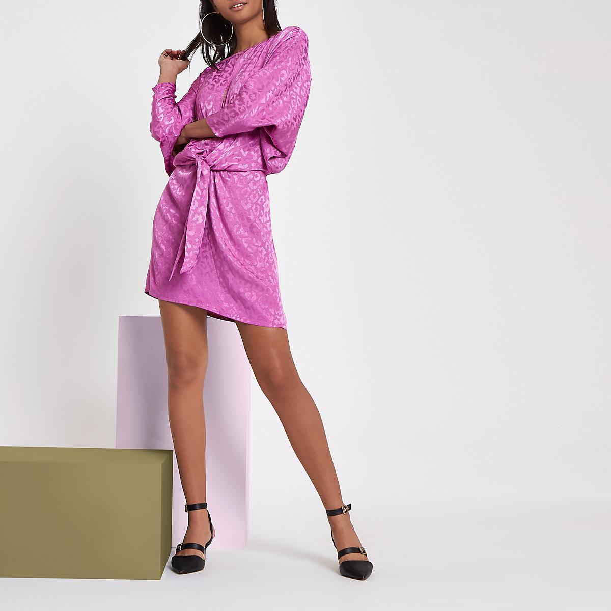 RI Studio pink jacquard knot front mini dress