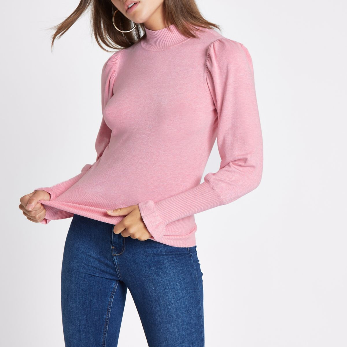 Pink turtle neck long sleeve sweater