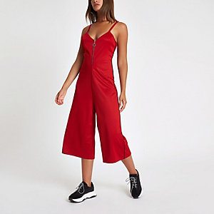 Bright red zip front culotte jumpsuit