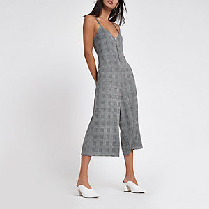Grey check zip front culotte jumpsuit