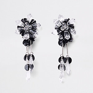 Black sequin and bead drop earrings