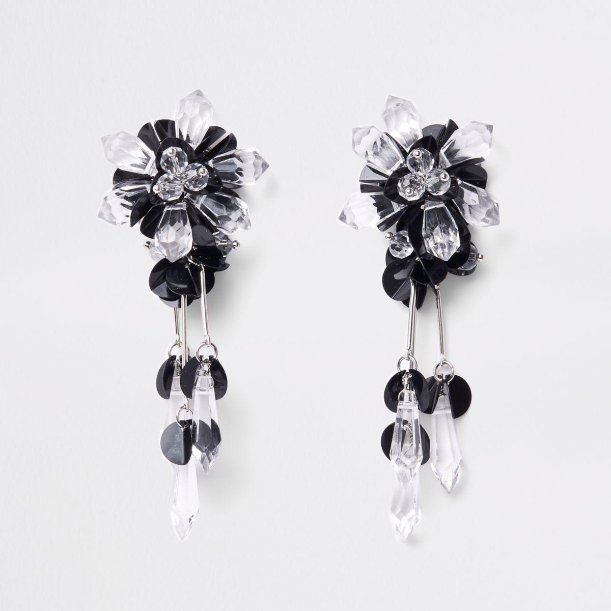 Black sequin and bead drop earrings