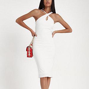 Cream scuba cross strap bodycon dress