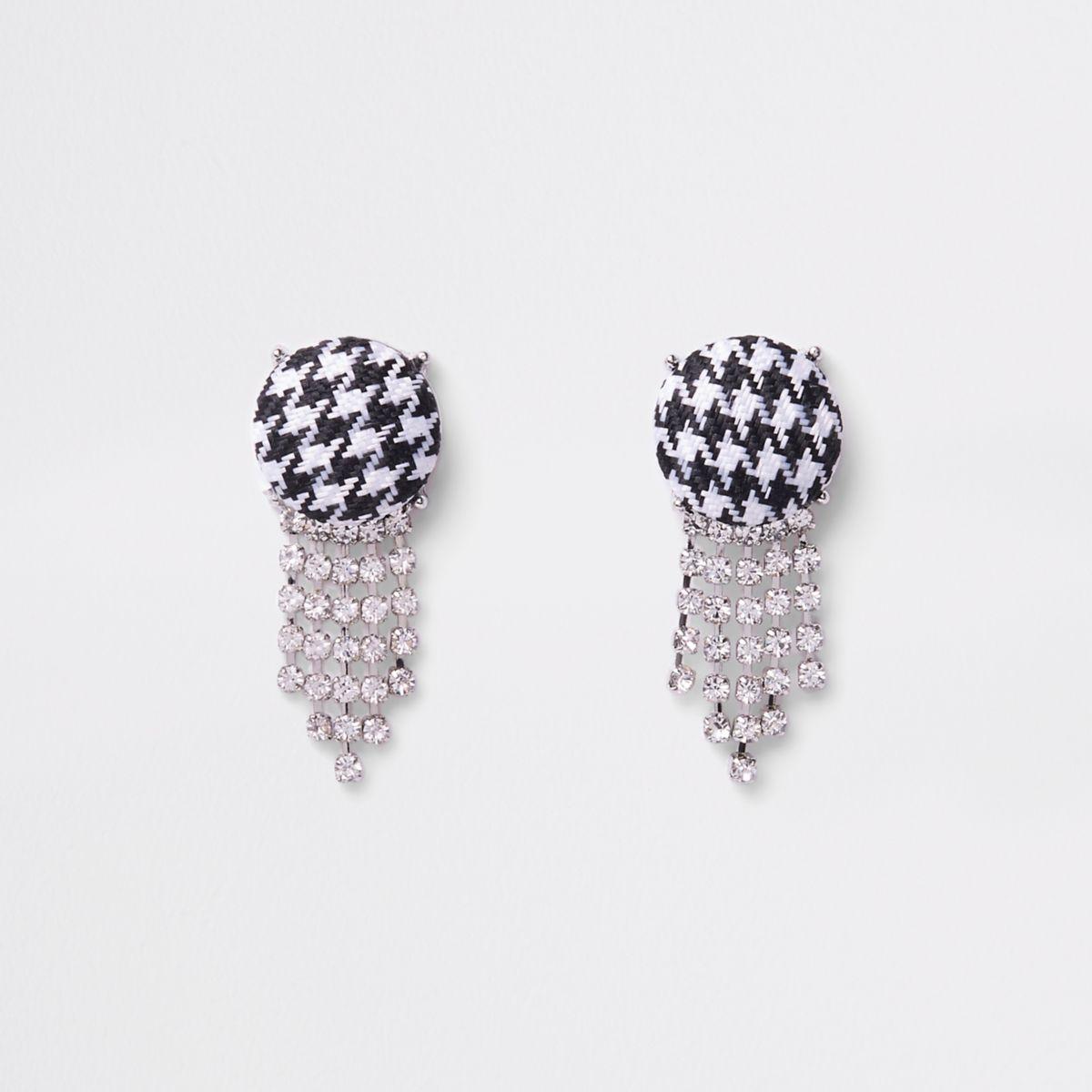 Black houndstooth diamante drop earrings