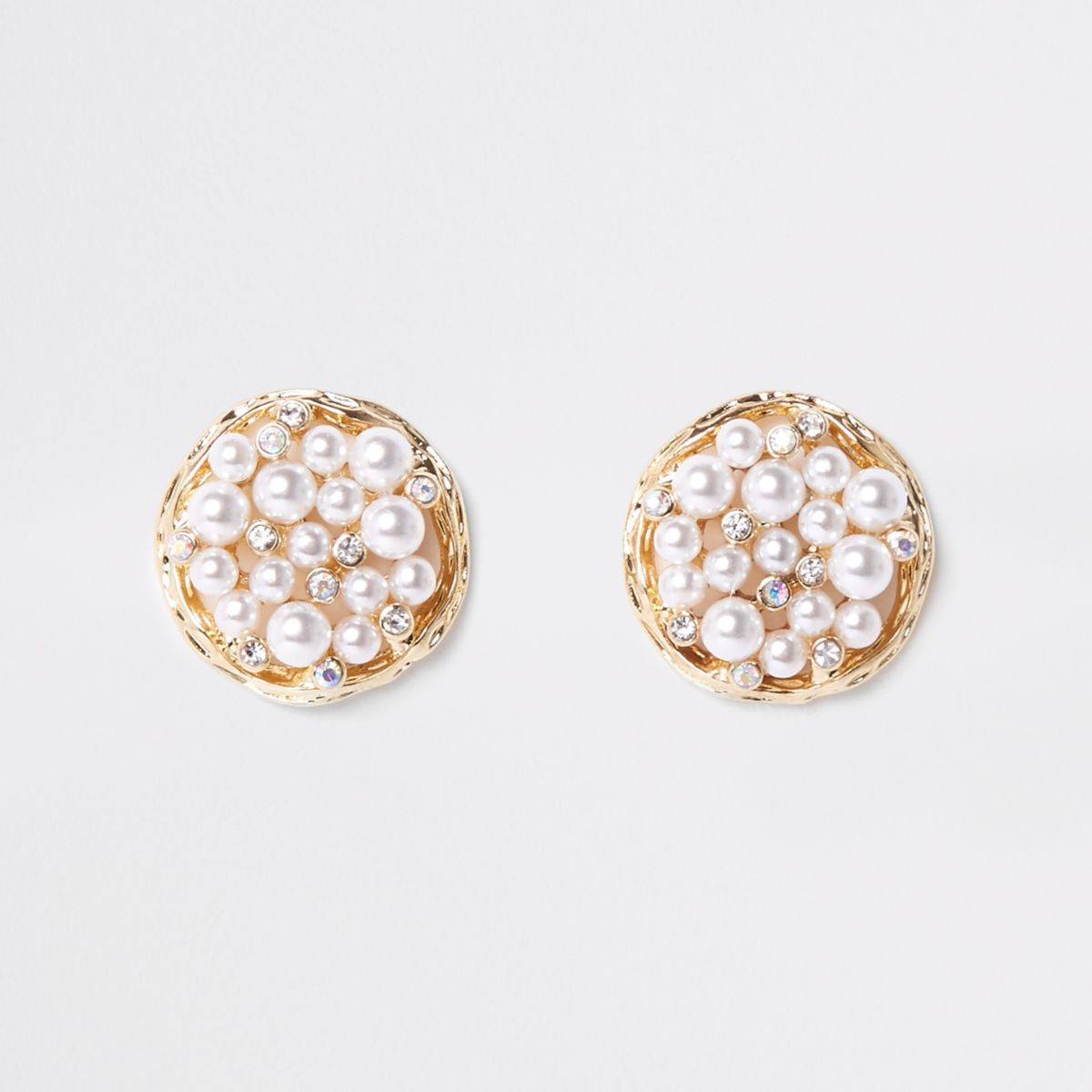 Gold tone pearl cluster round stud earrings