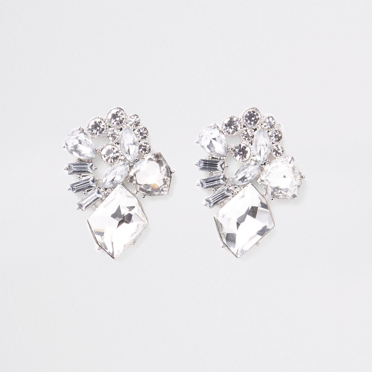 Silver tone jewel drop earrings