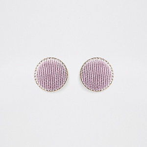 Light purple gold tone circle stud earrings