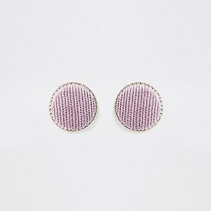 Clous d'oreilles dorés à cercles violet clair
