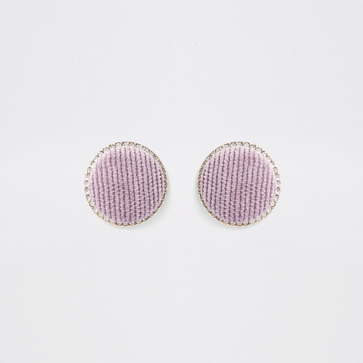 Light purple gold tone circle stud earrings