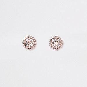 Roségoudkleurige oorknopjes met cirkel en diamantjes